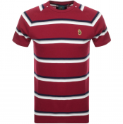 Luke 1977 Rey Pique Stripe Crew Neck T Shirt Red