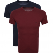 Product Image for Emporio Armani Lounge 2 Pack T Shirts Burgundy