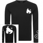 Money Panel Long Sleeved Crew NeckT Shirt Black