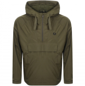 Fred Perry Ripstop Half Zip Hooded Jacket Green