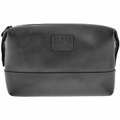 Superdry Premium Leather Washbag Black