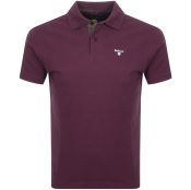 Barbour Pique Polo T Shirt Burgundy