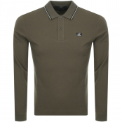 CP Company Long Sleeved Polo T Shirt Khaki