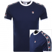 Fila Vintage Luca Crew Neck Taped T Shirt Navy