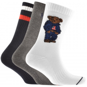 Ralph Lauren Polo Bear 3 Pack Socks White