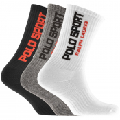 Product Image for Ralph Lauren Polo Sport 3 Pack Socks White
