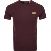 Superdry Vintage Short Sleeved T Shirt Burgundy