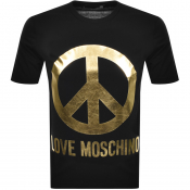 Love Moschino Peace Logo T Shirt Black