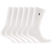 Ralph Lauren 6 Pack Socks White