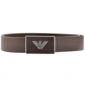 Emporio Armani Logo Leather Belt Brown