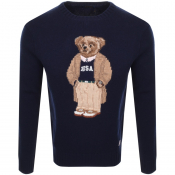 Product Image for Ralph Lauren Collegiate Bear Knit Jumper Navy