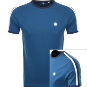 Pretty Green Tilby Crew Neck Badge T Shirt Blue