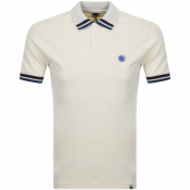 Pretty Green Banker Tipped Polo T Shirt Cream