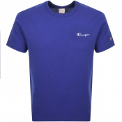 Champion Crew Neck Logo T Shirt Blue