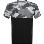 Nike Training Crew Neck Breathe Camo T Shirt Black