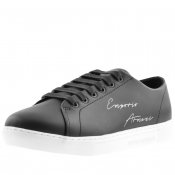 Emporio Armani Leather Logo Trainers Black