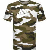 Nike Camouflage T Shirt Green