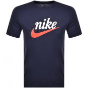 Nike Crew Neck Logo T Shirt Navy
