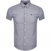 Emporio Armani Short Sleeve Check Shirt Blue