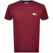 Tommy Jeans Badge Logo T Shirt Burgundy