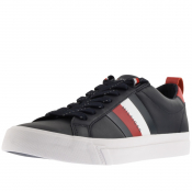 Product Image for Tommy Hilfiger Flag Detail Leather Trainers Navy