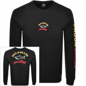 Paul And Shark Crew Neck Logo Sweatshirt Black