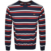Paul And Shark Crew Neck Striped Sweatshirt Navy