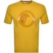 Product Image for Versace Collection Medusa Logo T Shirt Yellow