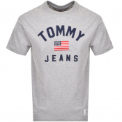 Product Image for Tommy Jeans USA Flag Logo T Shirt Grey
