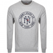 Tommy Jeans Long Sleeved Logo T Shirt Grey