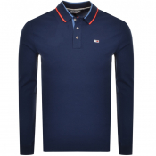 Tommy Jeans Long Sleeved Slim Polo T Shirt Navy