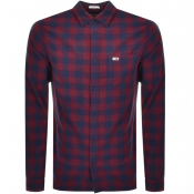 Product Image for Tommy Jeans Long Sleeved Gingham Shirt Burgundy