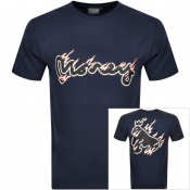 Product Image for Money Crew Neck Pastel Flames T Shirt Navy