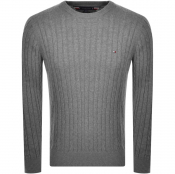 Product Image for Tommy Hilfiger Classic Cable Knit Sweatshirt Grey