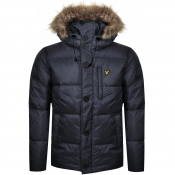 Product Image for Lyle And Scott Hooded Puffer Bomber Jacket Navy