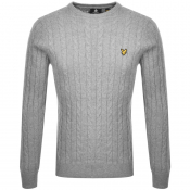 Product Image for Lyle And Scott Crew Neck Cable Knit Jumper Grey