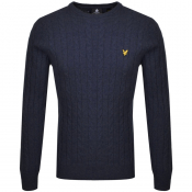 Lyle And Scott Crew Neck Cable Knit Jumper Navy