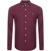Farah Vintage Brewer Slim Fit Shirt Burgundy