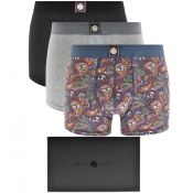 Pretty Green 3 Pack Boxer Shorts Gift Set Grey