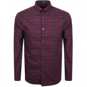 Gant Long Sleeved Broadcloth Check Shirt Red