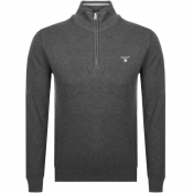 Product Image for Gant Textured Cotton Pique Half Zip Jumper Grey