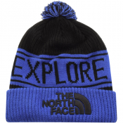The North Face Retro Pom Beanie Hat Blue