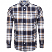 Gant Long Sleeve Brushed Oxford Check Shirt Navy