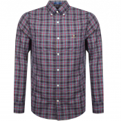 Gant Long Sleeved Oxford Check Shirt Navy