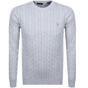 Product Image for Gant Cable Knit Jumper Grey