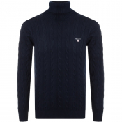 Product Image for Gant Roll Neck Cable Knit Jumper Navy