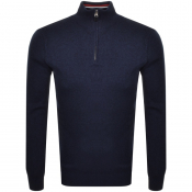 Superdry Orange Label Half Zip Kint Jumper Navy
