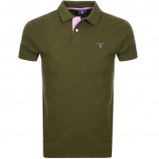 Gant Contrast Collar Rugger Polo T Shirt Green