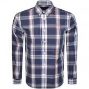 Fred Perry Long Sleeved Twill Check Shirt Blue
