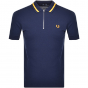 Fred Perry Vinyl Tipped Polo T Shirt Blue